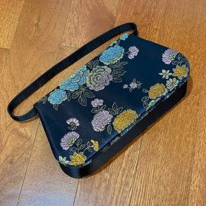 Black Floral Purse in Asian Fabric